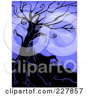 Royalty Free RF Clipart Illustration Of A Creepy Bare Tree On A Hill Against Blue