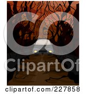 Royalty Free RF Clipart Illustration Of A Car Driving Down A Creepy Road With Bare Trees by BNP Design Studio