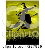 Silhouetted Witch Flying Over Grasses On Green