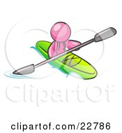 Clipart Illustration Of A Pink Man Paddling Down A River In A Green Kayak