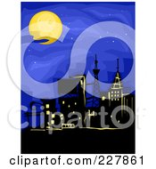 Royalty Free RF Clipart Illustration Of A Lit Up City Under A Full Moon