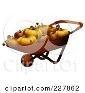 Royalty Free RF Clipart Illustration Of A Wheel Barrow Full Of Pumpkins