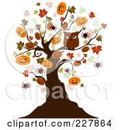 Royalty Free RF Clipart Illustration Of A Creepy Tree Of Owls Bats And Jackolanterns