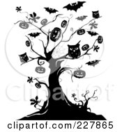 Royalty Free RF Clipart Illustration Of A Creepy Black And White Tree Of Owls Bats And Jackolanterns by BNP Design Studio