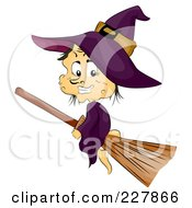 Royalty Free RF Clipart Illustration Of A Warty Witch Flying On A Broomstick