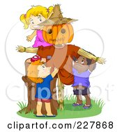 Royalty Free RF Clipart Illustration Of Cute Kids Playing By A Scarecrow