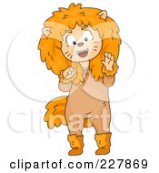 Royalty Free RF Clipart Illustration Of A Halloween Boy In A Lion Costume