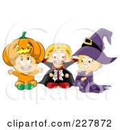 Royalty Free RF Clipart Illustration Of Three Toddlers In Pumpkin Vampire And Witch Halloween Costumes