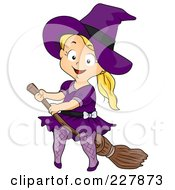 Royalty Free RF Clipart Illustration Of A Halloween Girl Witch On A Broomstick