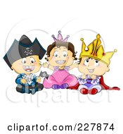 Royalty Free RF Clipart Illustration Of Three Toddlers In Pirate Princess And King Halloween Costumes