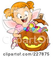 Royalty Free RF Clipart Illustration Of A Halloween Girl In A Fairy Costume Showing Her Candy Stash In A Pumpkin