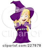 Royalty Free RF Clipart Illustration Of A Halloween Girl In A Witch Costume