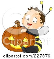 Royalty Free RF Clipart Illustration Of A Halloween Boy In A Bee Costume