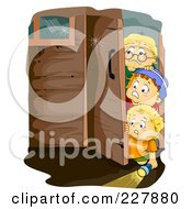 Royalty Free RF Clipart Illustration Of Little Boys Walking Into A Haunted House by BNP Design Studio
