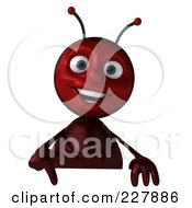 Royalty Free RF Clipart Illustration Of A 3d Ant Holding A Blank Sign 1 by Julos