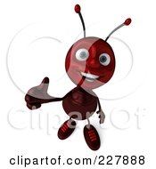 Royalty Free RF Clipart Illustration Of A 3d Ant Holding A Thumbs Up by Julos