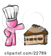 Clipart Illustration Of A Pink Chef Man Wearing A White Hat And Presenting A Tasty Slice Of Chocolate Frosted Cake