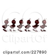Royalty Free RF Clipart Illustration Of A 3d Line Of Ants Marching 1 by Julos