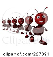 Royalty Free RF Clipart Illustration Of A 3d Line Of Ants Marching 2 by Julos