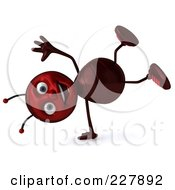 Royalty Free RF Clipart Illustration Of A 3d Ant Doing A Hand Stand by Julos
