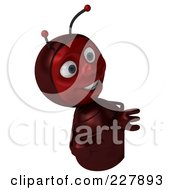 Royalty Free RF Clipart Illustration Of A 3d Ant Holding A Blank Sign 3 by Julos