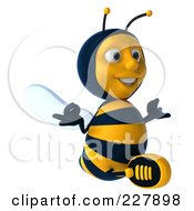 Royalty Free RF Clipart Illustration Of A 3d Bee Character Sitting And Meditating 2