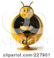Royalty Free RF Clipart Illustration Of A 3d Bee Character Sitting In A Chair by Julos