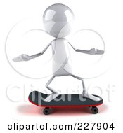 Royalty Free RF Clipart Illustration Of A 3d White Bob Character Skateboarding 1