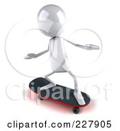 Royalty Free RF Clipart Illustration Of A 3d White Bob Character Skateboarding 2