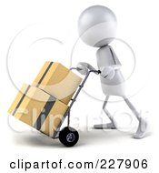 Royalty Free RF Clipart Illustration Of A 3d White Bob Character Moving Boxes On A Dolly 2