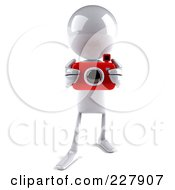 Royalty Free RF Clipart Illustration Of A 3d White Bob Character Taking Pictures 2 by Julos