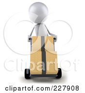 Royalty Free RF Clipart Illustration Of A 3d White Bob Character Moving Boxes On A Dolly 1
