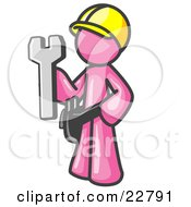 Clipart Illustration Of A Proud Pink Construction Worker Man In A Hardhat Holding A Wrench Clipart Illustration