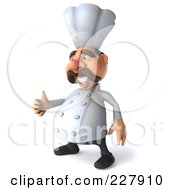 Royalty Free RF Clipart Illustration Of A 3d Chef Man Facing Left With A Thumbs Up
