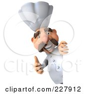 Royalty Free RF Clipart Illustration Of A 3d Chef Man With A Thumb Up Around A Blank Sign