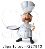 Royalty Free RF Clipart Illustration Of A 3d Chef Man Facing Front With A Platter And Thumbs Up