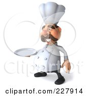 Royalty Free RF Clipart Illustration Of A 3d Chef Man Facing Left With A Platter by Julos