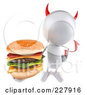 Royalty Free RF Clipart Illustration Of A 3d Devil Bob Character With A Cheeseburger 3
