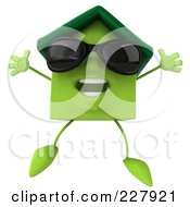 3d Green Clay Home Wearing Shades And Jumping