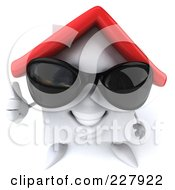 Royalty Free RF Clipart Illustration Of A 3d White Clay Home Wearing Shades And Holding A Thumb Up by Julos