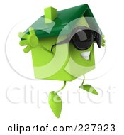 3d Green Clay Home Wearing Shades And Jumping Right