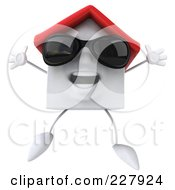 3d White Clay Home Wearing Shades And Jumping