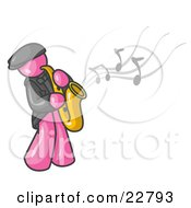 Clipart Illustration Of A Musical Pink Man Playing Jazz With A Saxophone
