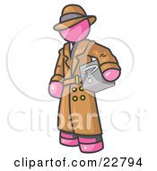 Clipart Illustration Of A Secretive Pink Man In A Trench Coat And Hat Carrying A Box With A Question Mark On It