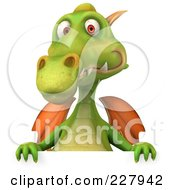 Royalty Free RF Clipart Illustration Of A 3d Dragon Facing Holding A Blank Sign 2