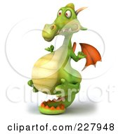 Royalty Free RF Clipart Illustration Of A 3d Dragon Balanced On His Tail 2