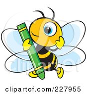 Royalty Free RF Clipart Illustration Of A Cute Bee Holding A Green Crayon