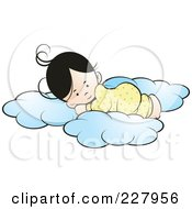Royalty Free RF Clipart Illustration Of A Girl Sleeping On Soft Clouds