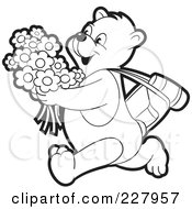 Royalty Free RF Clipart Illustration Of A Coloring Page Outline Of A Happy Bear Running With Flowers