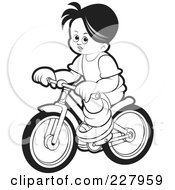 Royalty Free RF Clipart Illustration Of A Coloring Page Outline Of A Boy Riding A Bike by Lal Perera